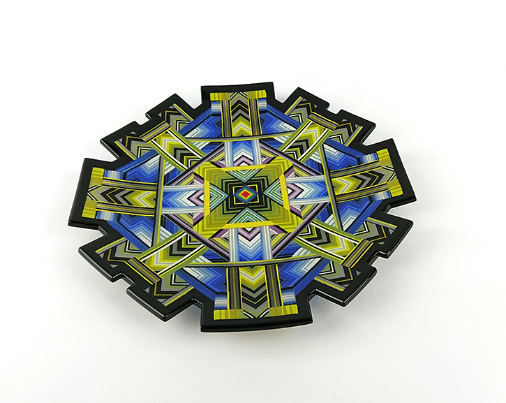 Kiln-formed glass 30cm charger with sculpted edges