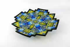 'Saliensis' 40cm kiln-formed glass charger with sculpted edges