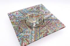 'Broadheath-Boogie-Woogie' 46 cm x 8cm kiln-formed glass bowl