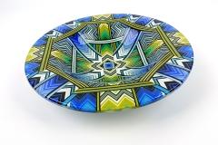 30 cm x 8 cm kiln-formed glass mandala bowl