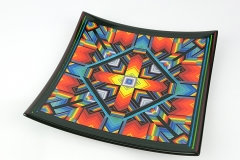 21 cm rainbow portal platter with strip edging