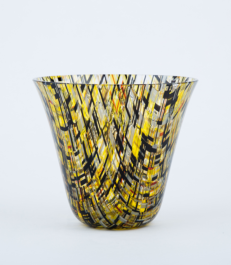 Gold and Black geometric drop out vase